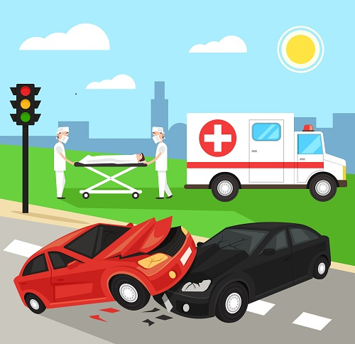 two cars in an accident with an ambulance