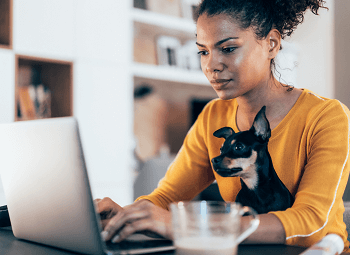 Young self-employed woman working on her laptop at home with her small dog sitting with her