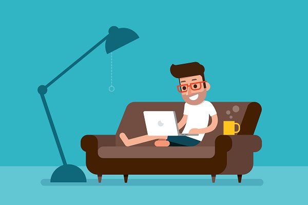 man on a couch working on laptop cartoon