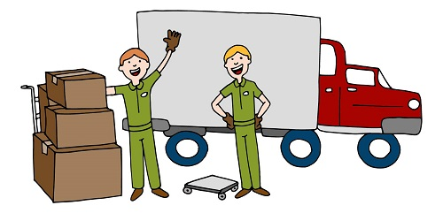cartoon workers loading cargo truck