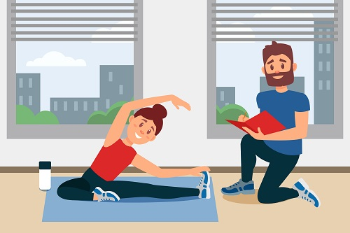 cartoon personal trainer working with client
