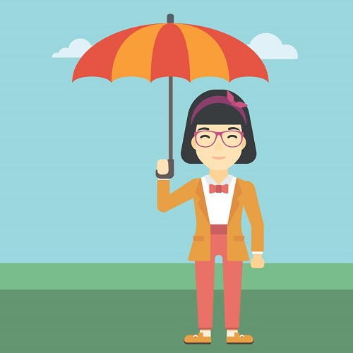 cartoon woman holding umbrella