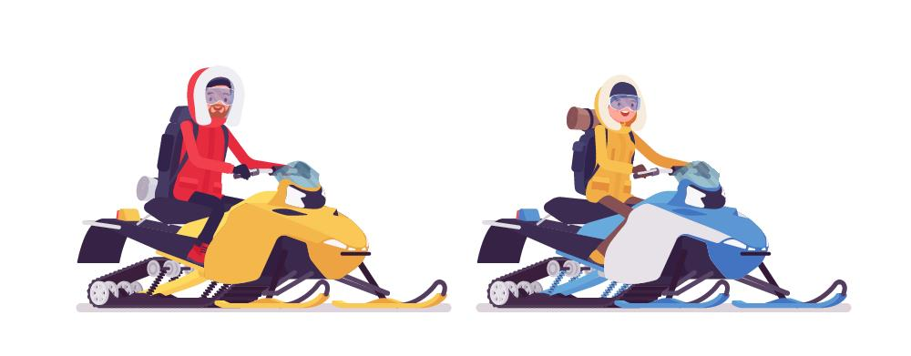 2 people riding on a snowmobile